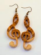 Naušnice violinski ključ od maslinovog drva